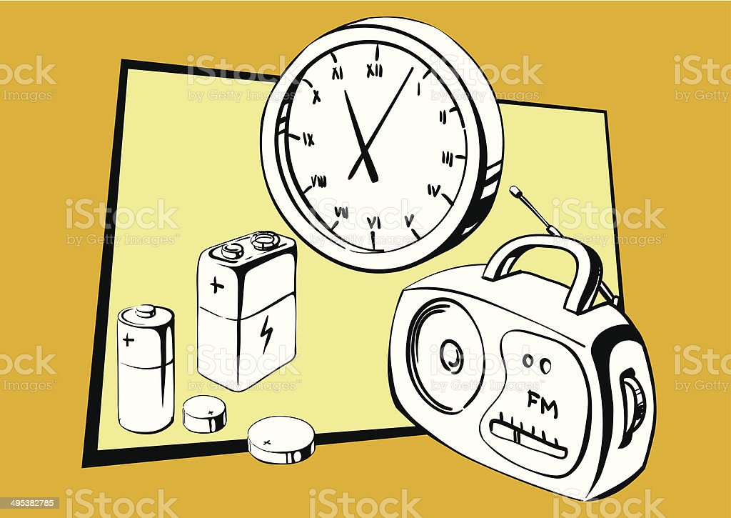 Batteries and battery power to operate electrical appliances royalty-free stock vector art