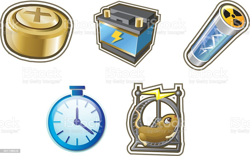 Battery and Power Icons vector art illustration
