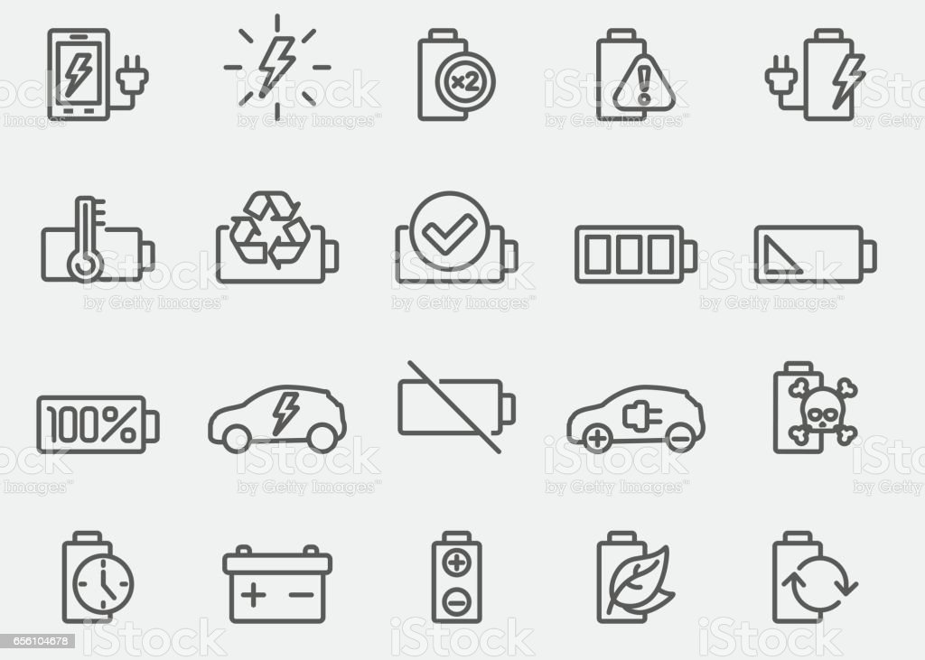 Battery And Power Line Icons vector art illustration