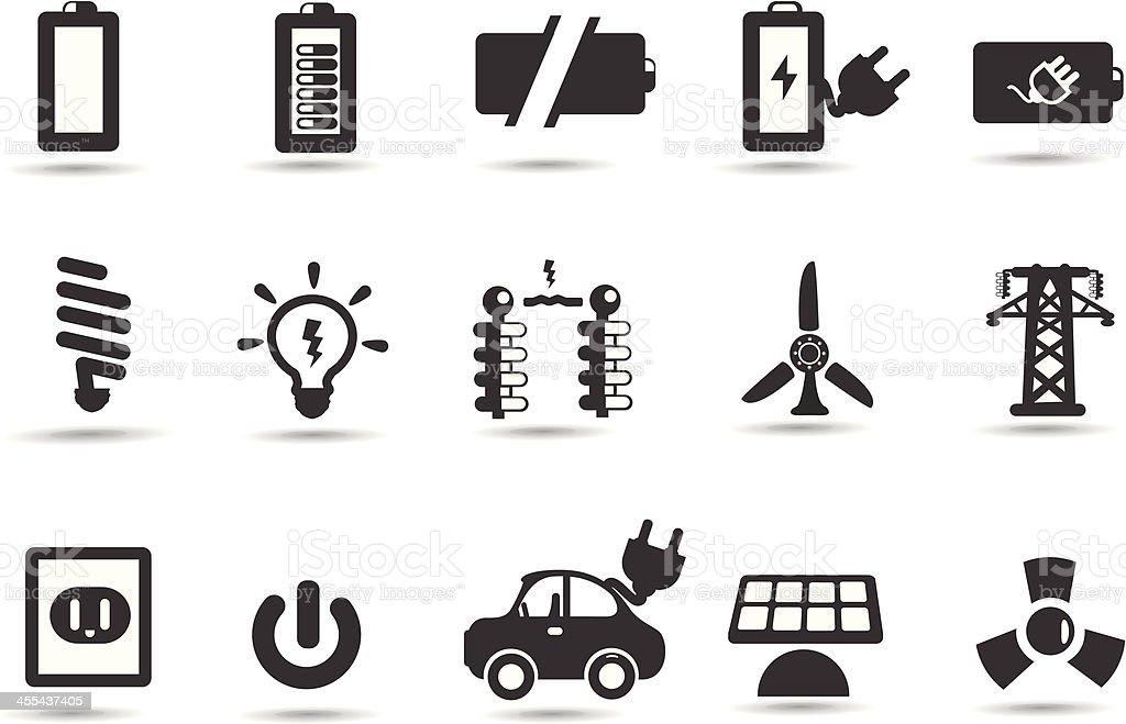 Battery, Energy Icons royalty-free stock vector art