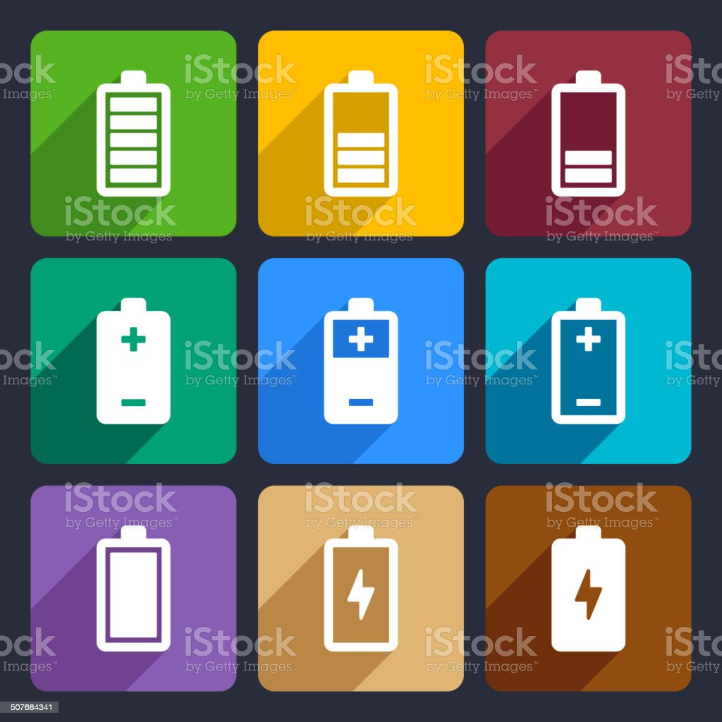 Battery flat icons set 22 royalty-free stock vector art