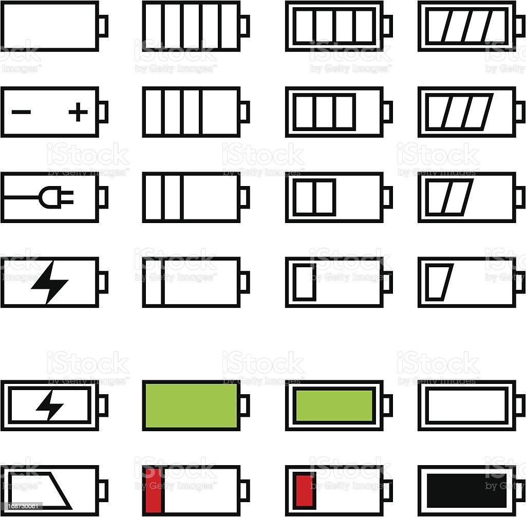 Battery icon set royalty-free stock vector art