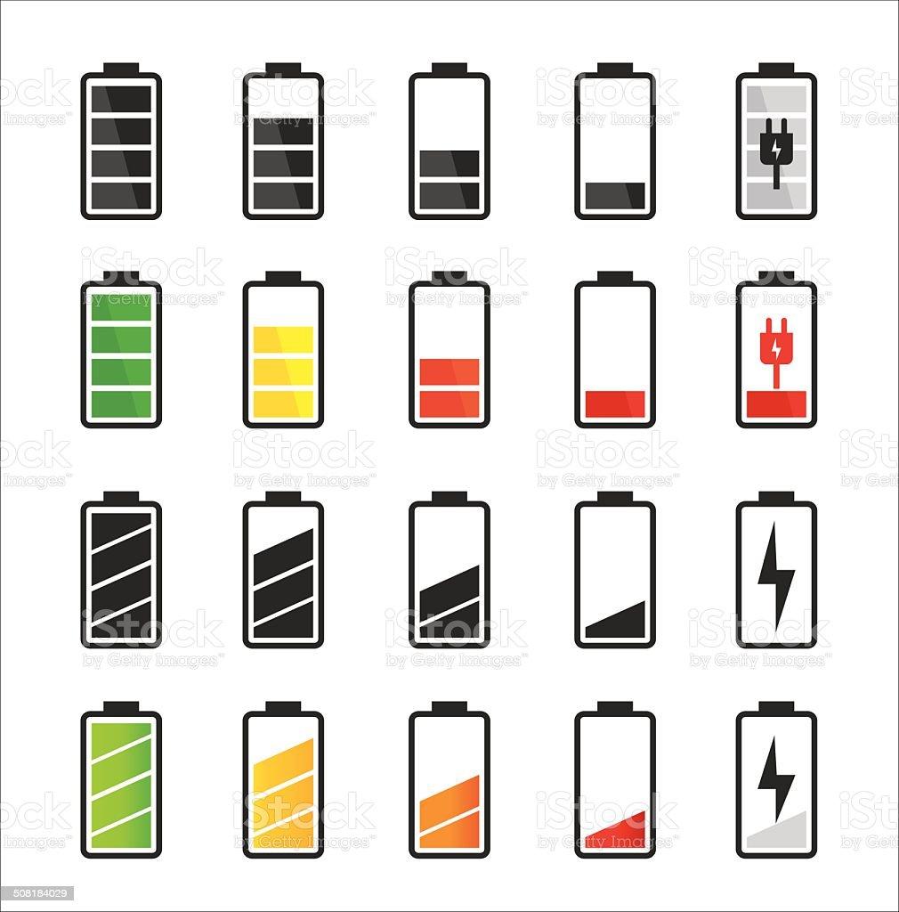 Battery icon set vector art illustration