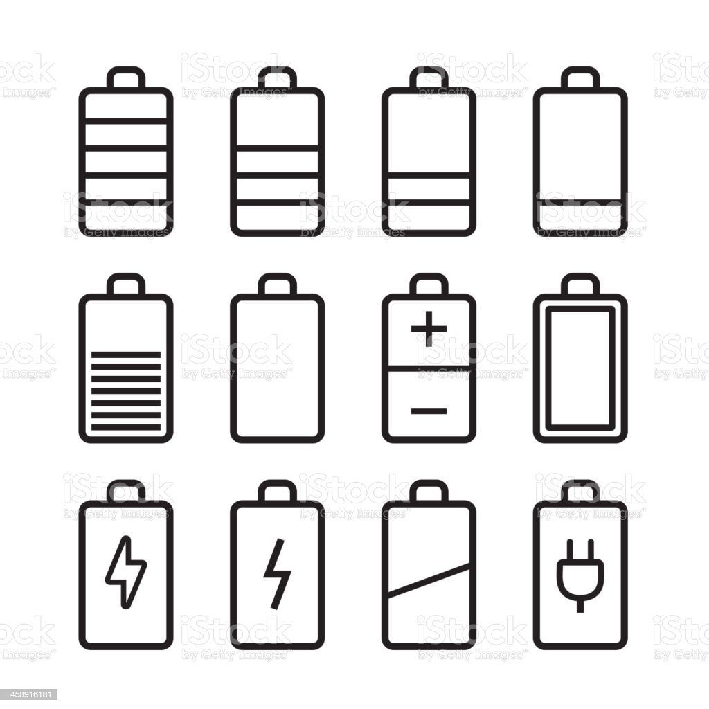 Battery icons set in ios7 style royalty-free stock vector art