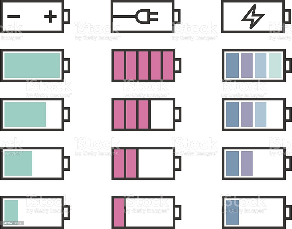 Battery icons set royalty-free stock vector art