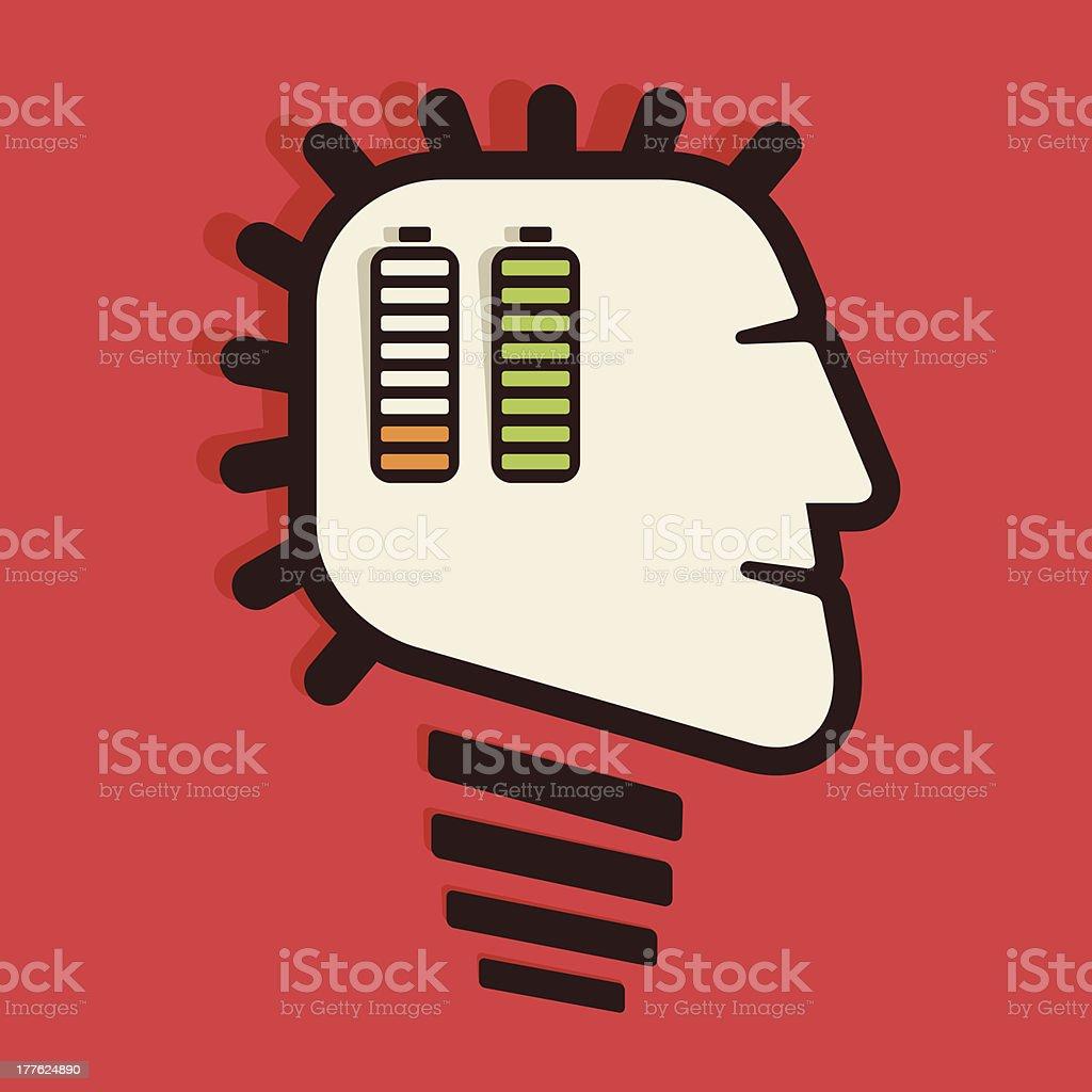 battery in head royalty-free stock vector art