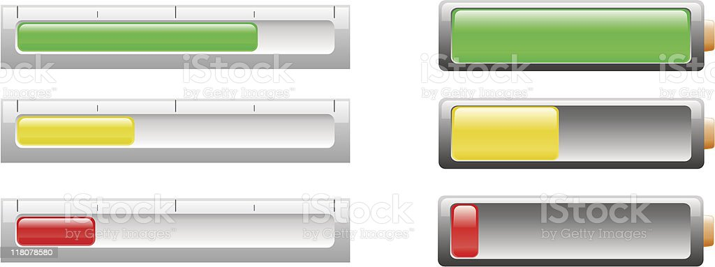 Battery or power level indicators royalty-free stock vector art