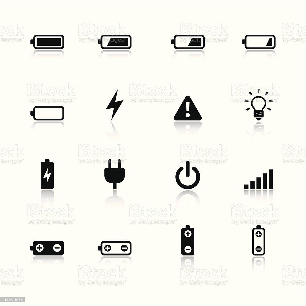 Battery & Power Black & White Icons Set vector art illustration