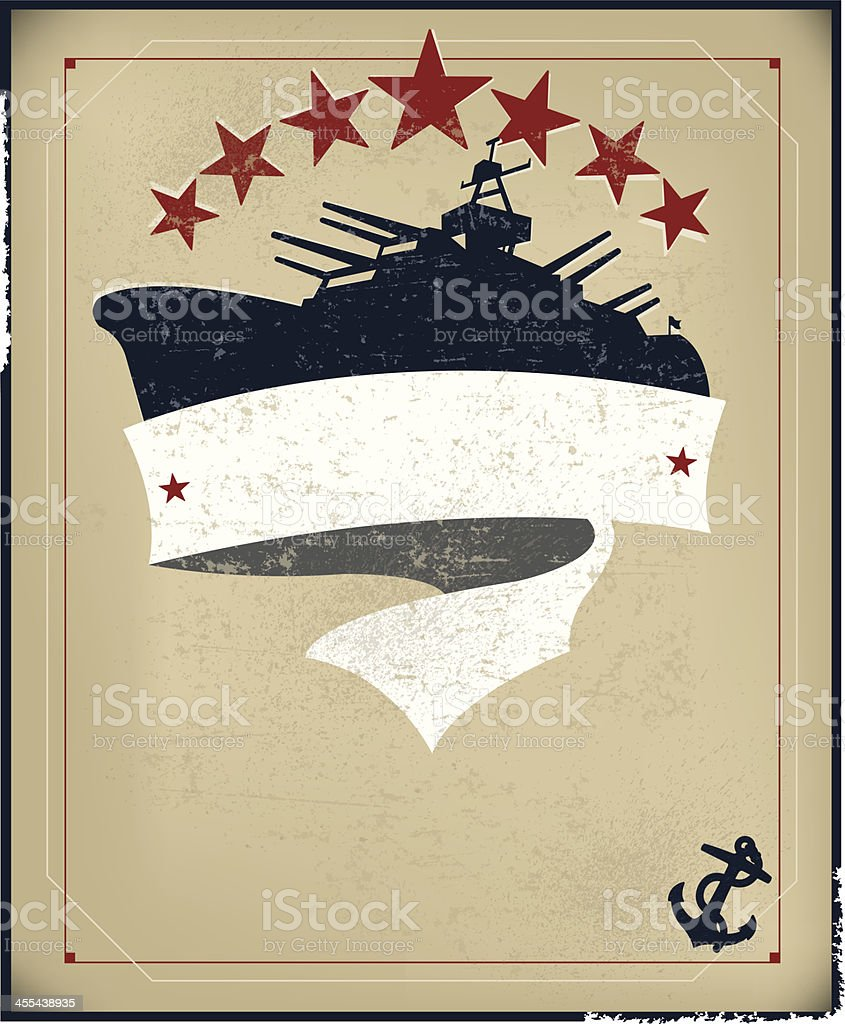 Battleship Banner Background with Anchor royalty-free stock vector art