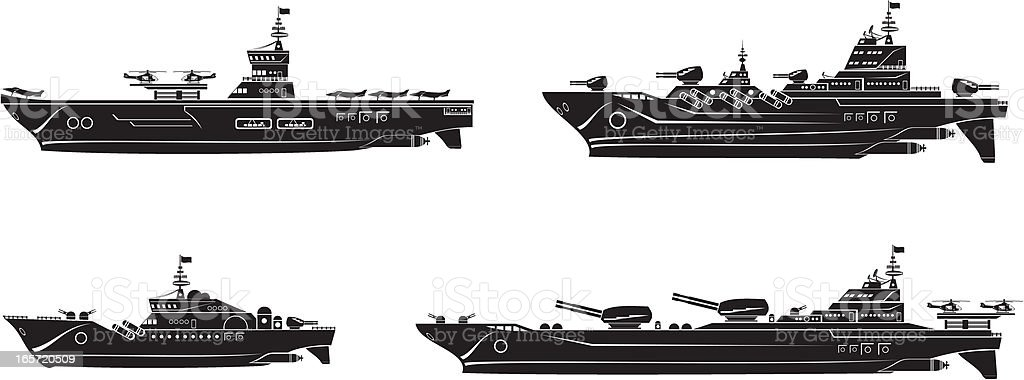 Battleships set vector art illustration