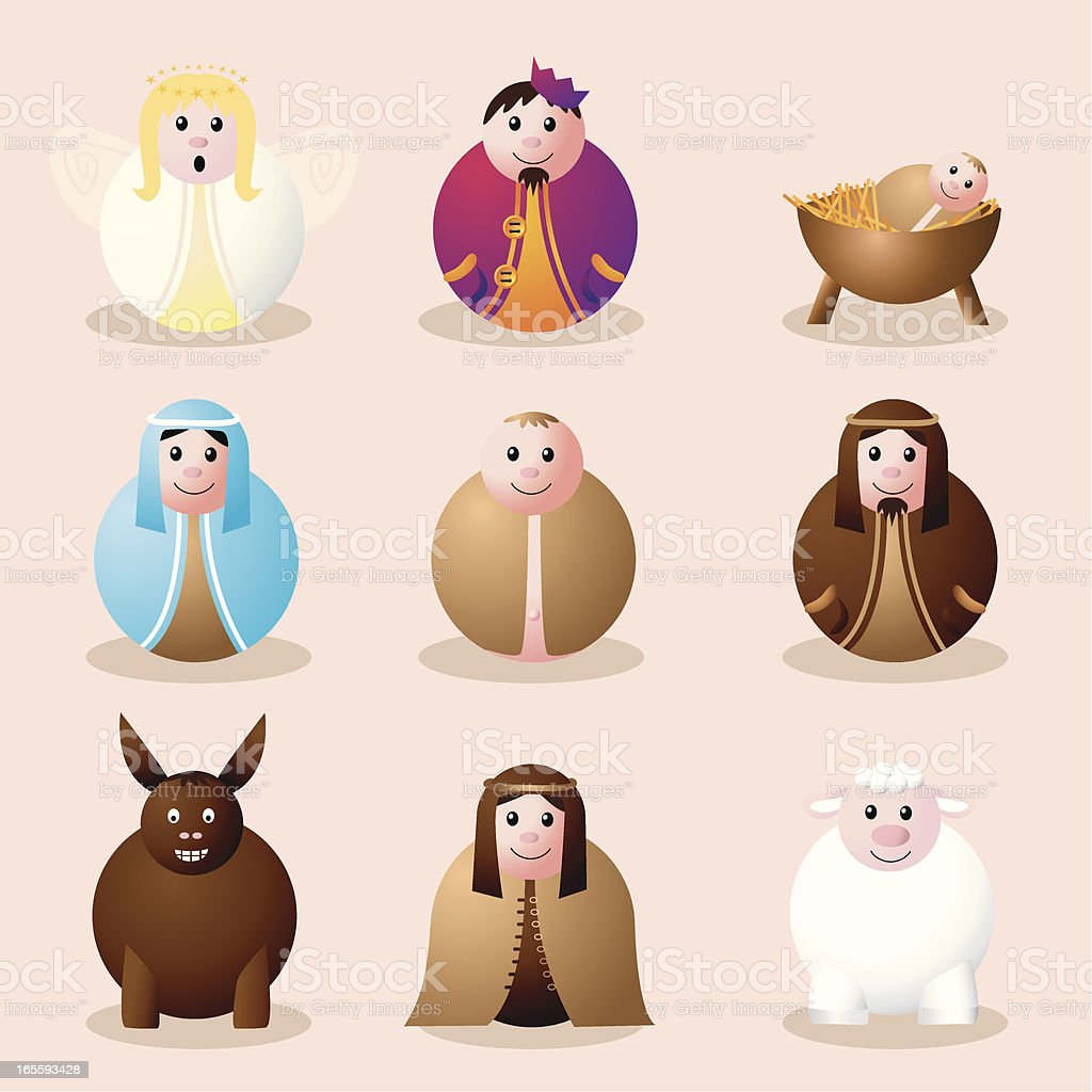 Bauble nativity characters vector art illustration