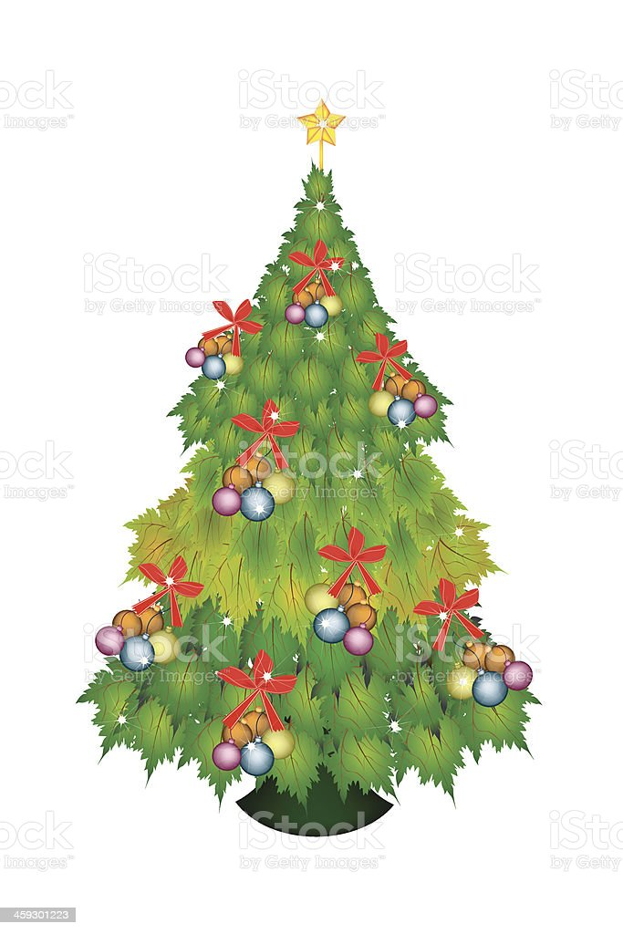 Baubles and Bow on Christmas Tree of Green Maple Leaves royalty-free stock vector art