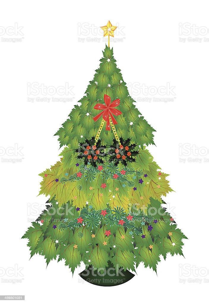 Baubles and Holly on Maple Christmas Tree royalty-free stock vector art