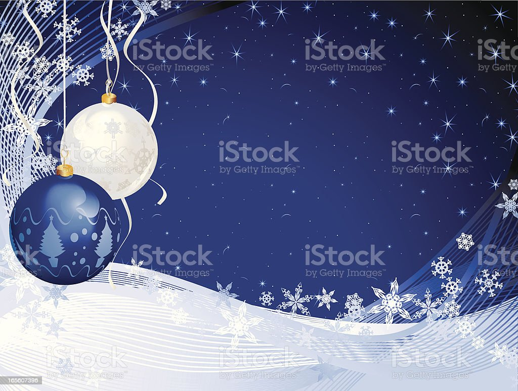 Baubles and Snow Starry Christmas Background royalty-free stock vector art