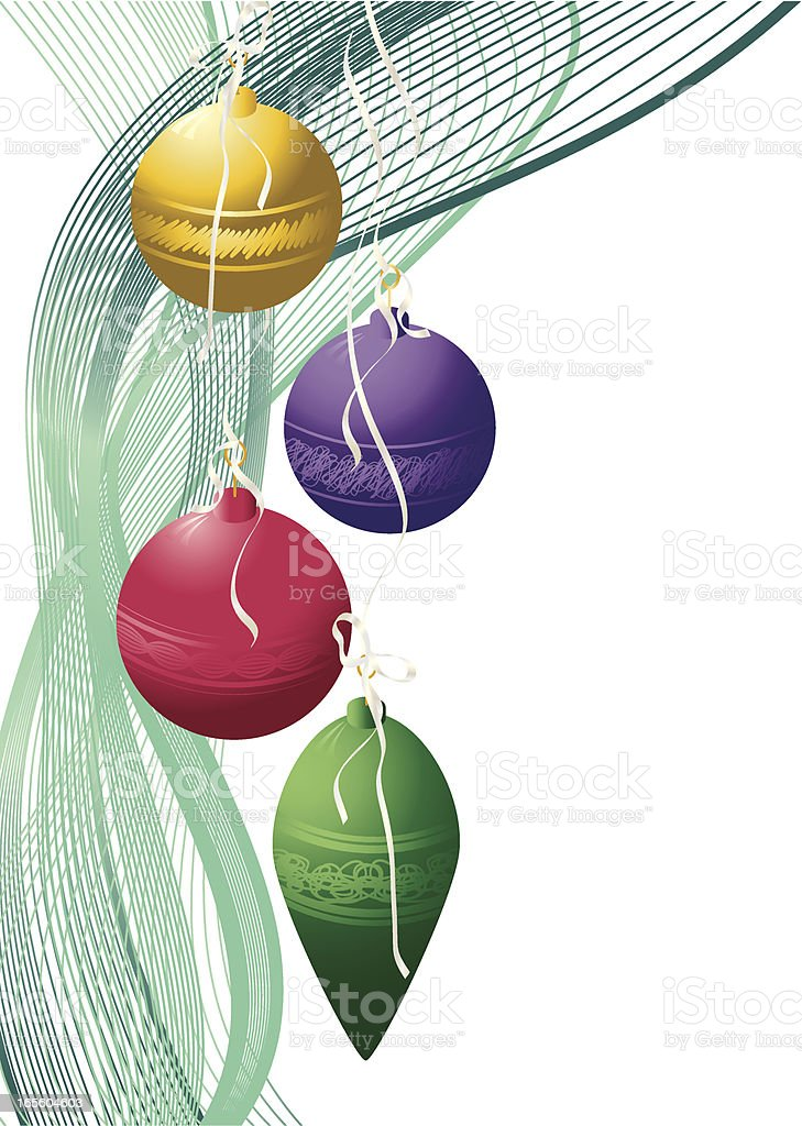 Baubles and Swirls LH Border - Christmas royalty-free stock vector art