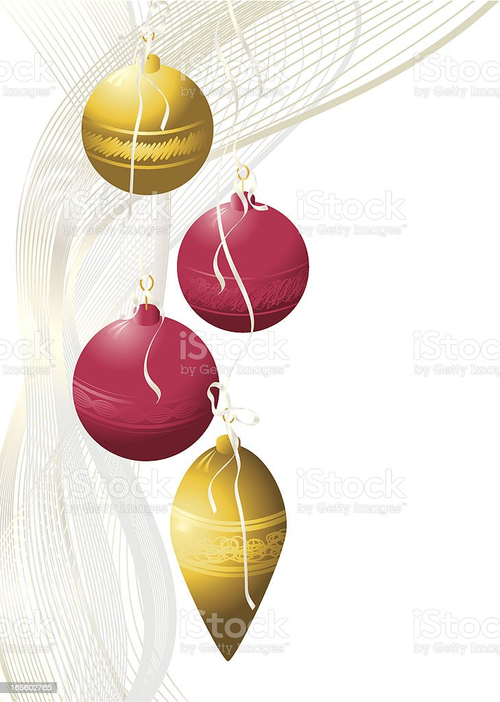 Baubles in Gold and Red LH Border - Christmas royalty-free stock vector art