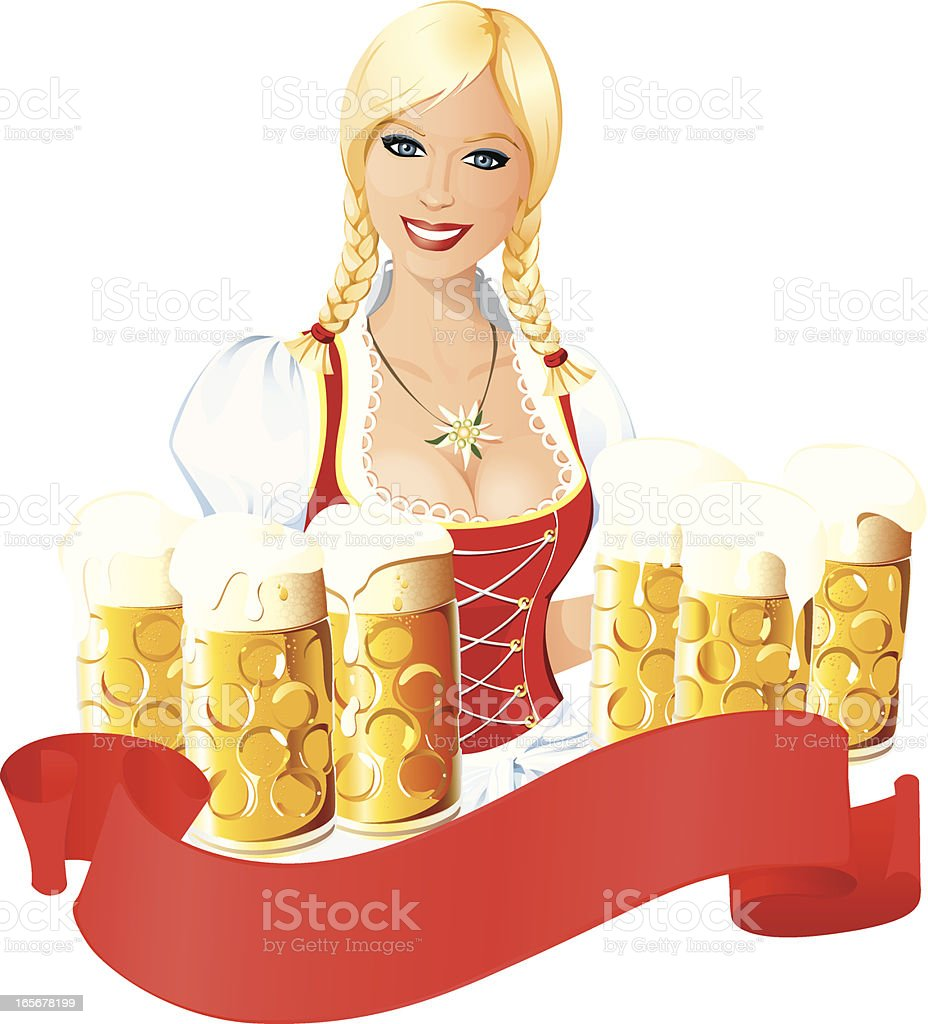 Bavarian Oktoberfest Beauty with Beer royalty-free stock vector art