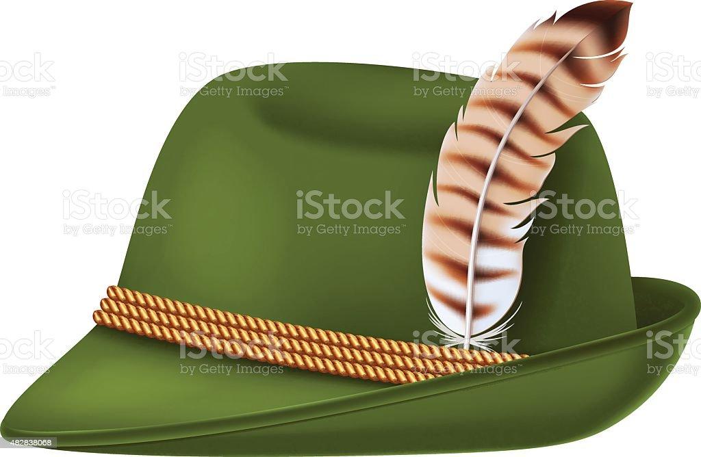Bavarian Oktoberfest style hat with a feather. vector art illustration