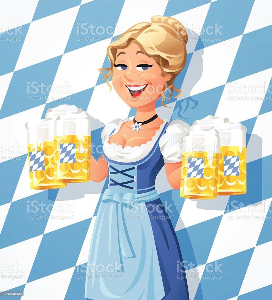 Bavarian Waitress In Dirndl vector art illustration