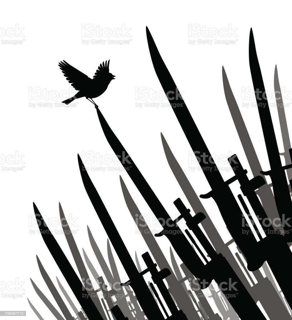 Bayonet bird of peace vector art illustration