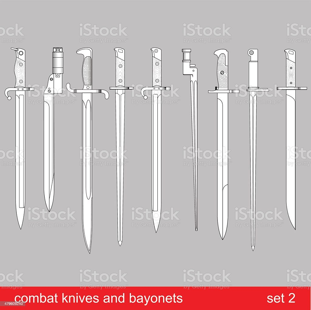 bayonets and tactical knives vector art illustration