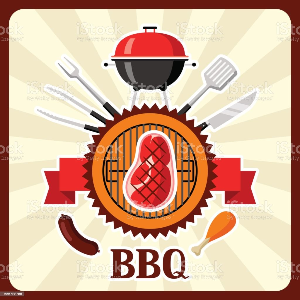 Bbq card with grill objects and icons vector art illustration