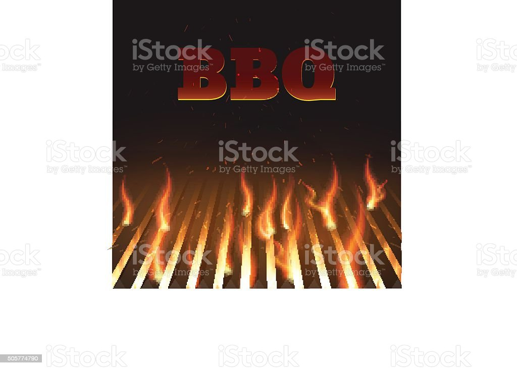 bbq fire grille eps 10 vector art illustration