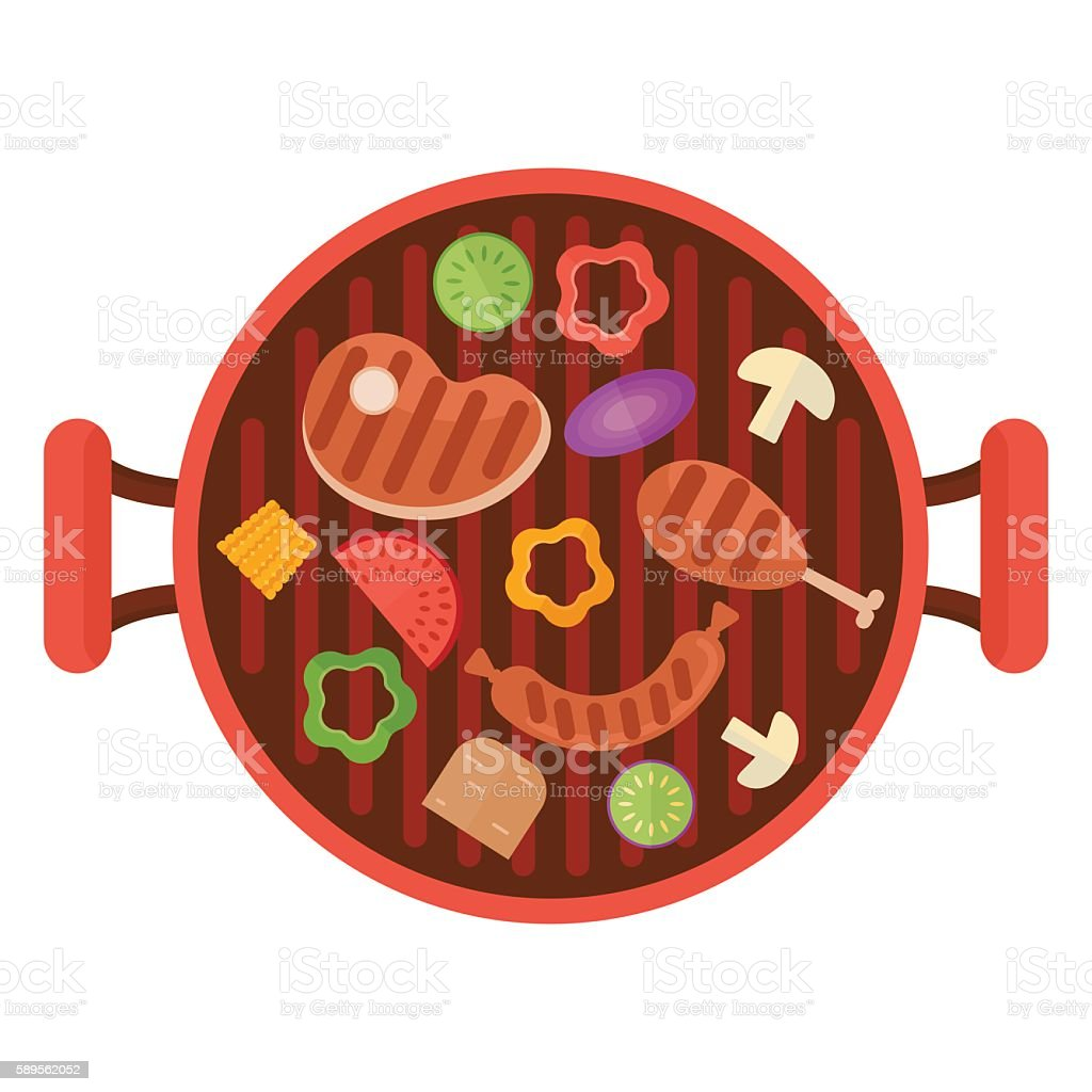 bbq grill pan with vegetables vector art illustration