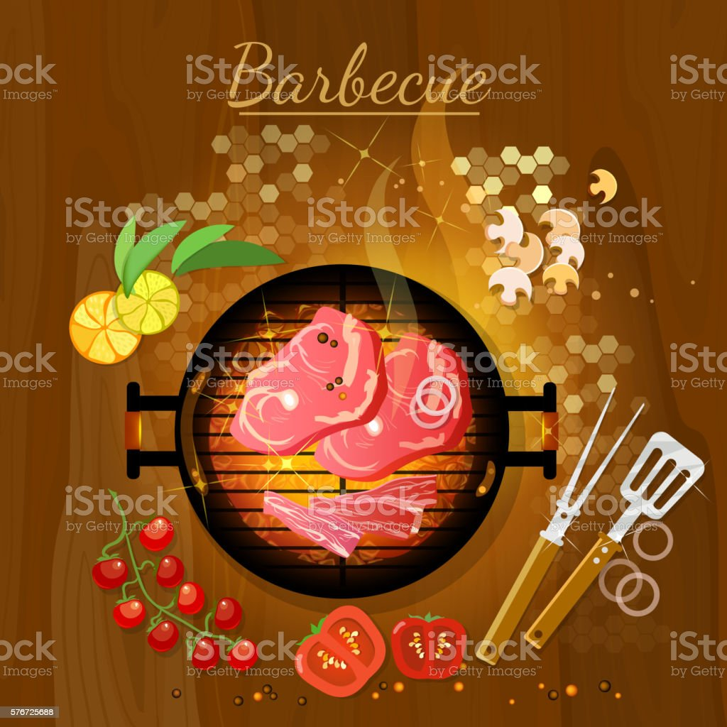 Bbq grill party grilled meat live coals gridiron top view vector art illustration