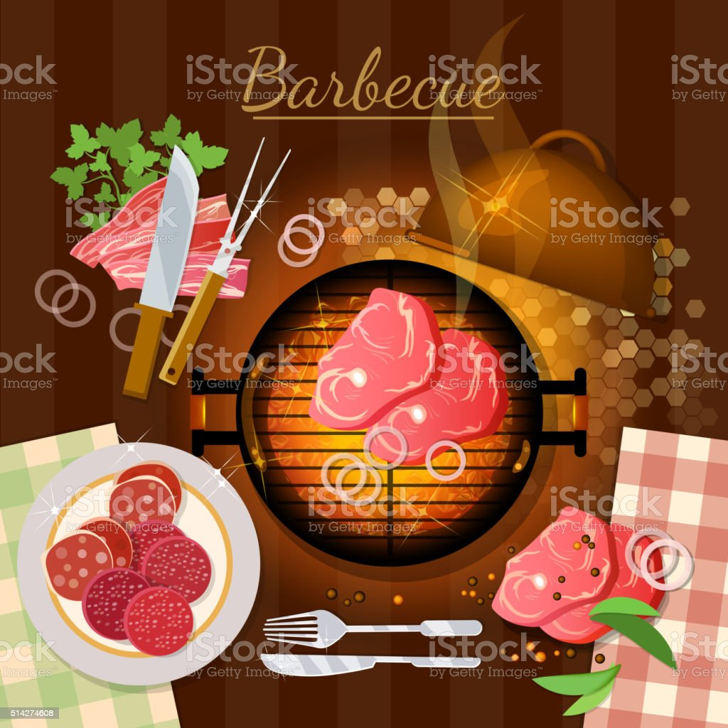Bbq grill party grilled meat top view vector art illustration