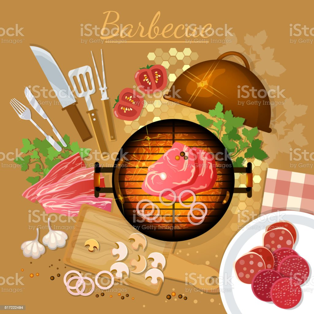 Bbq grill party top view grilled meat on the fire vector art illustration