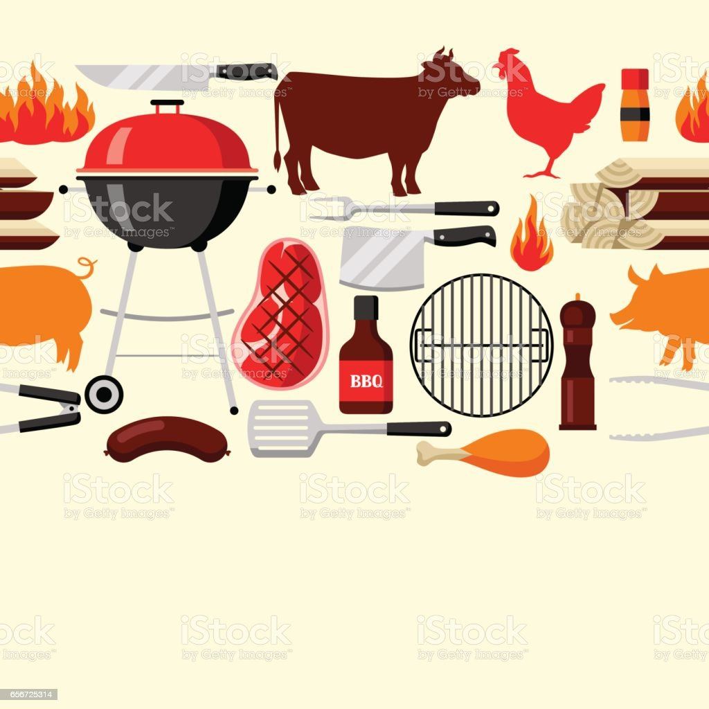 Bbq seamless pattern with grill objects and icons vector art illustration