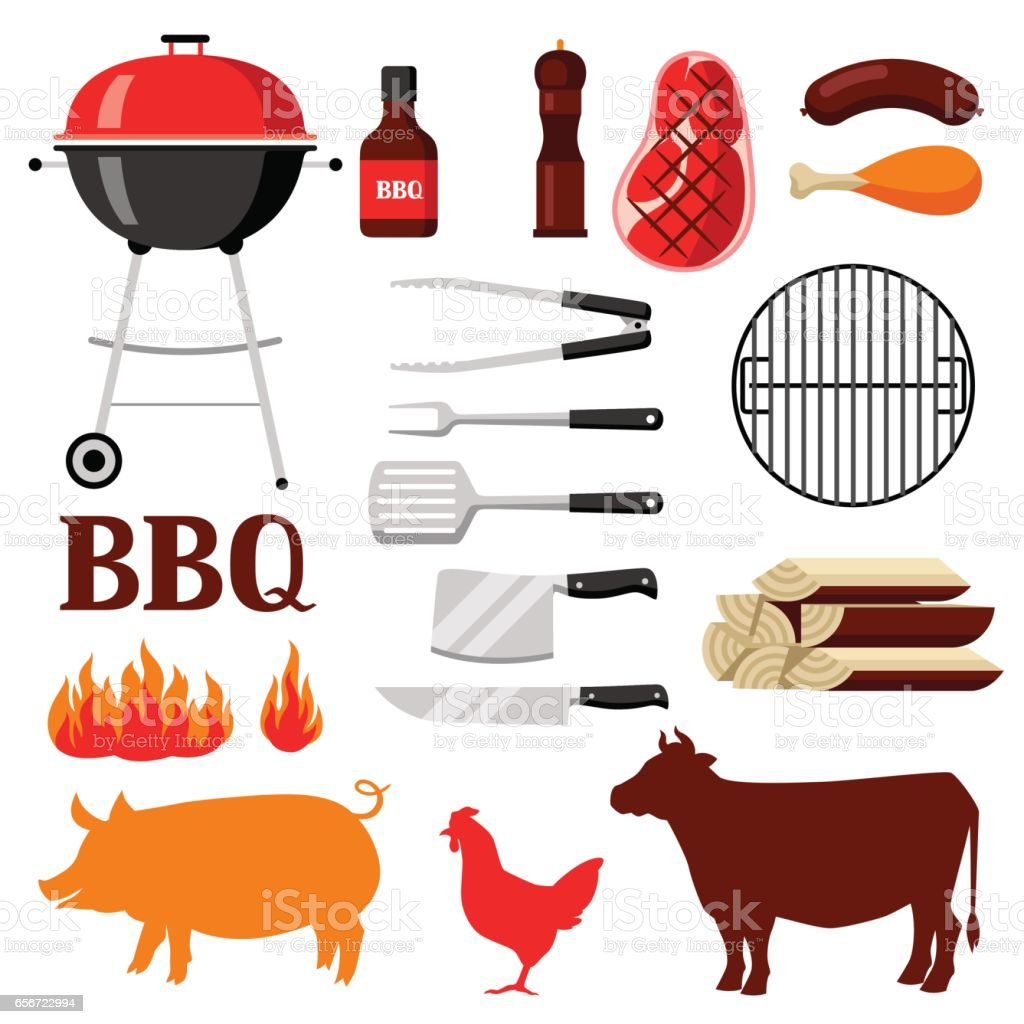 Bbq set of grill objects and icons vector art illustration