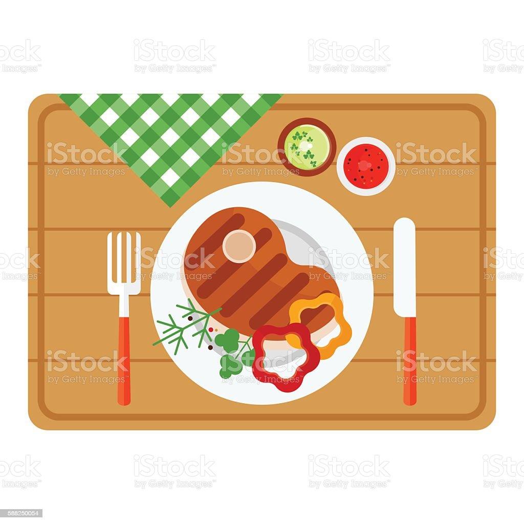 bbq steak on wooden tray vector art illustration