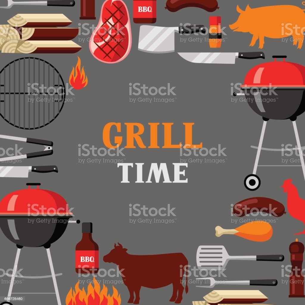 Bbq time background with grill objects and icons vector art illustration