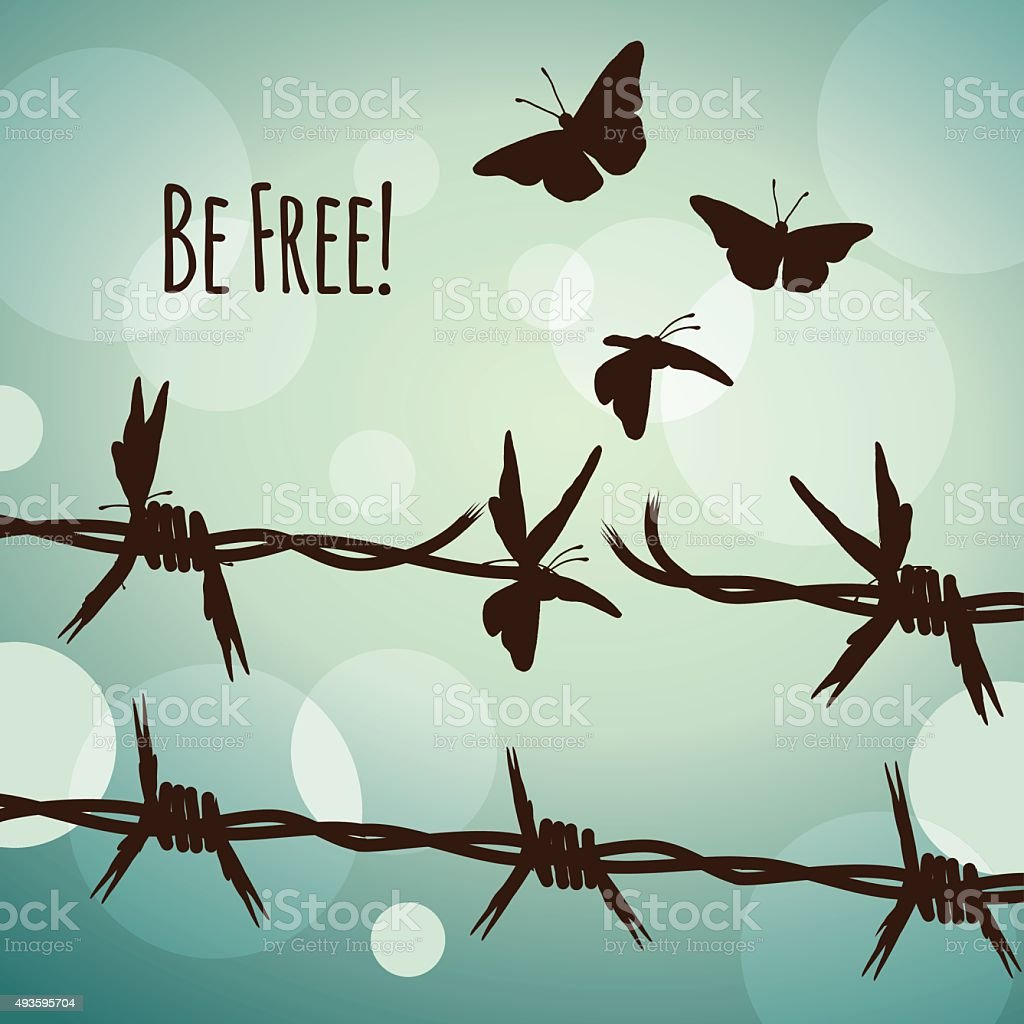 Be free! Barbed wire and butterflies vector art illustration