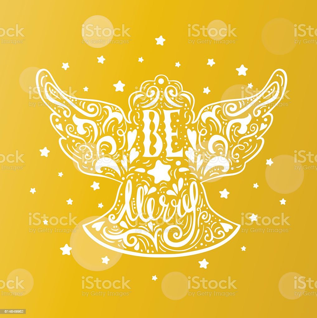 Be Marry- Silhouette of a Christmas Angel with unique lettering. vector art illustration