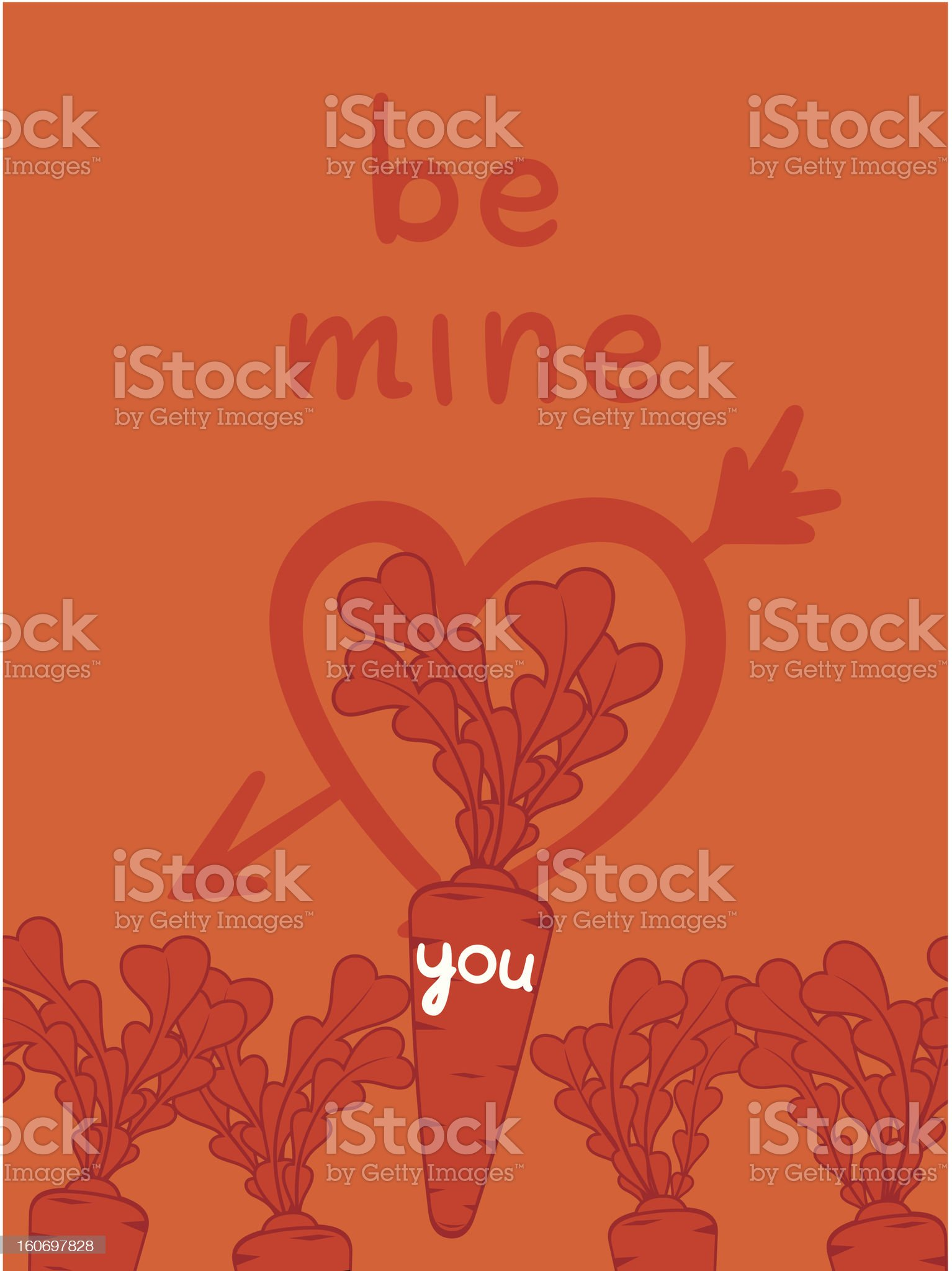 Be mine valentine with a carrots love royalty-free stock vector art