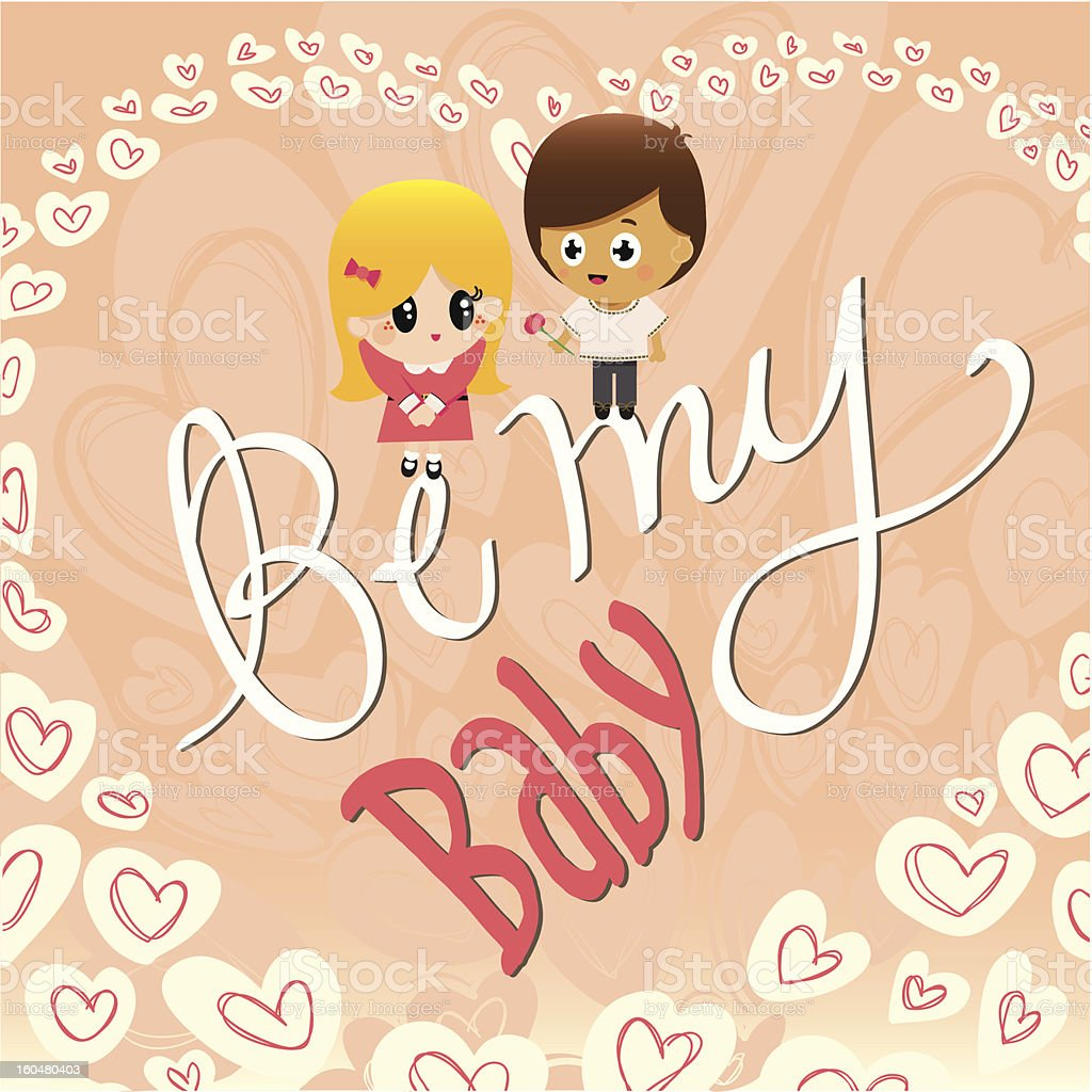 Be My Baby Greetings Card royalty-free stock vector art
