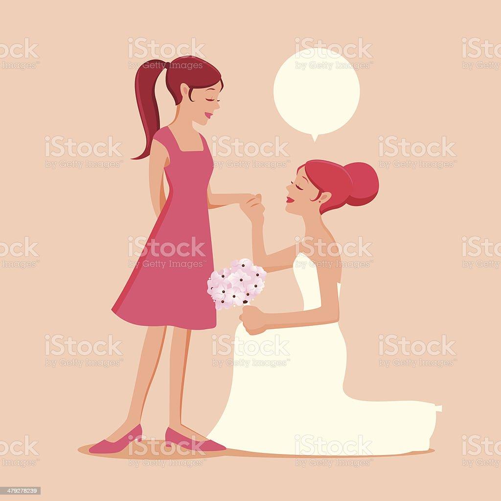 Be My Bride / Bridesmaid / Maid Of Honor vector art illustration
