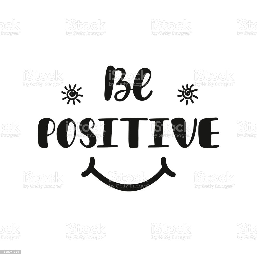 Vector Drawing Lines Quotes : Be positive inspirational quote about happiness stock