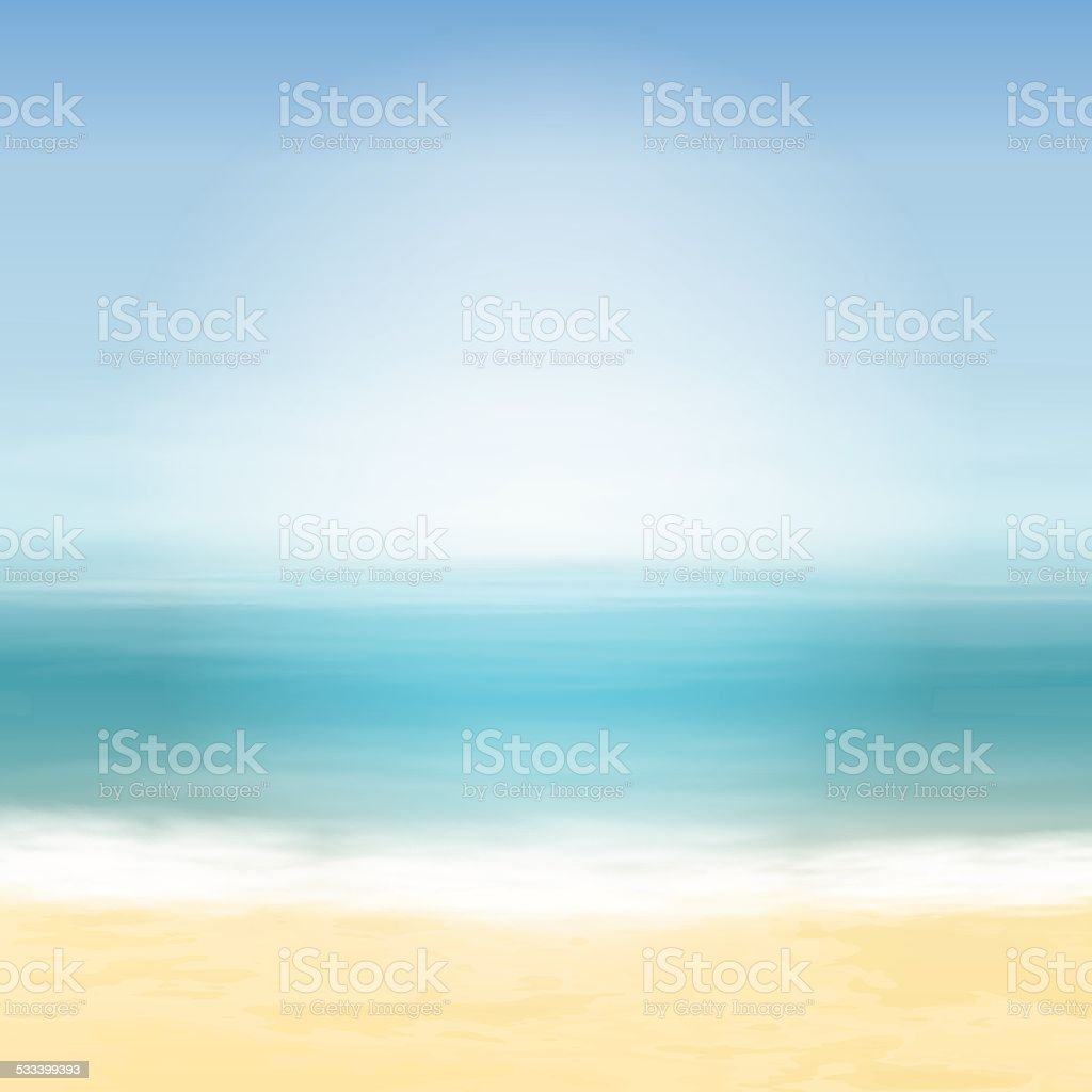 Beach and blue sea. Tropical background. vector art illustration