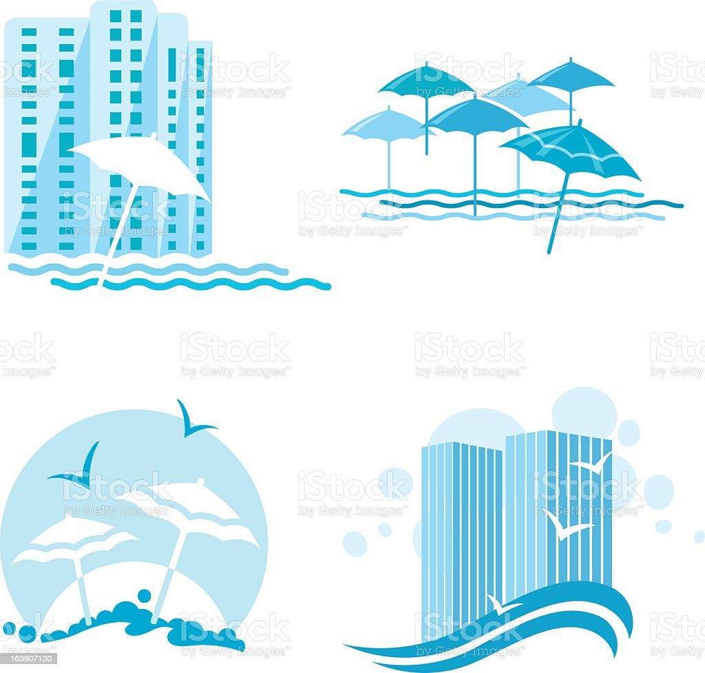 Beach and Resort Icon Set royalty-free stock vector art
