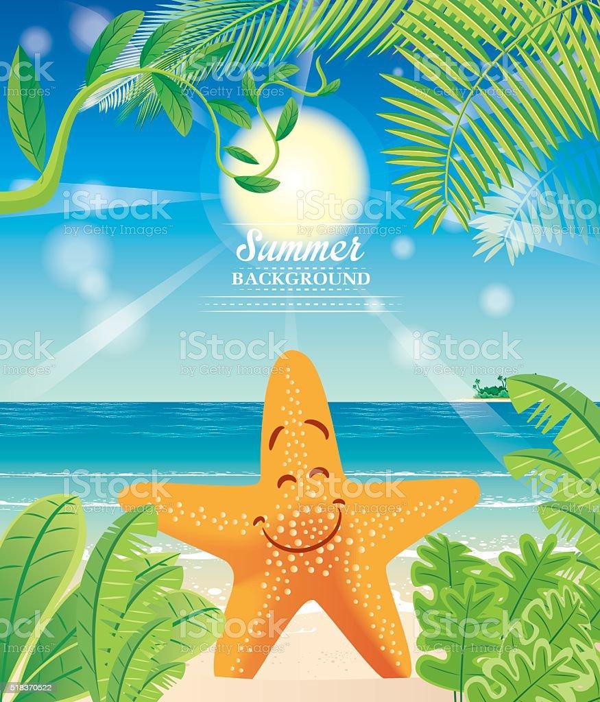 Beach and Starfish vector art illustration