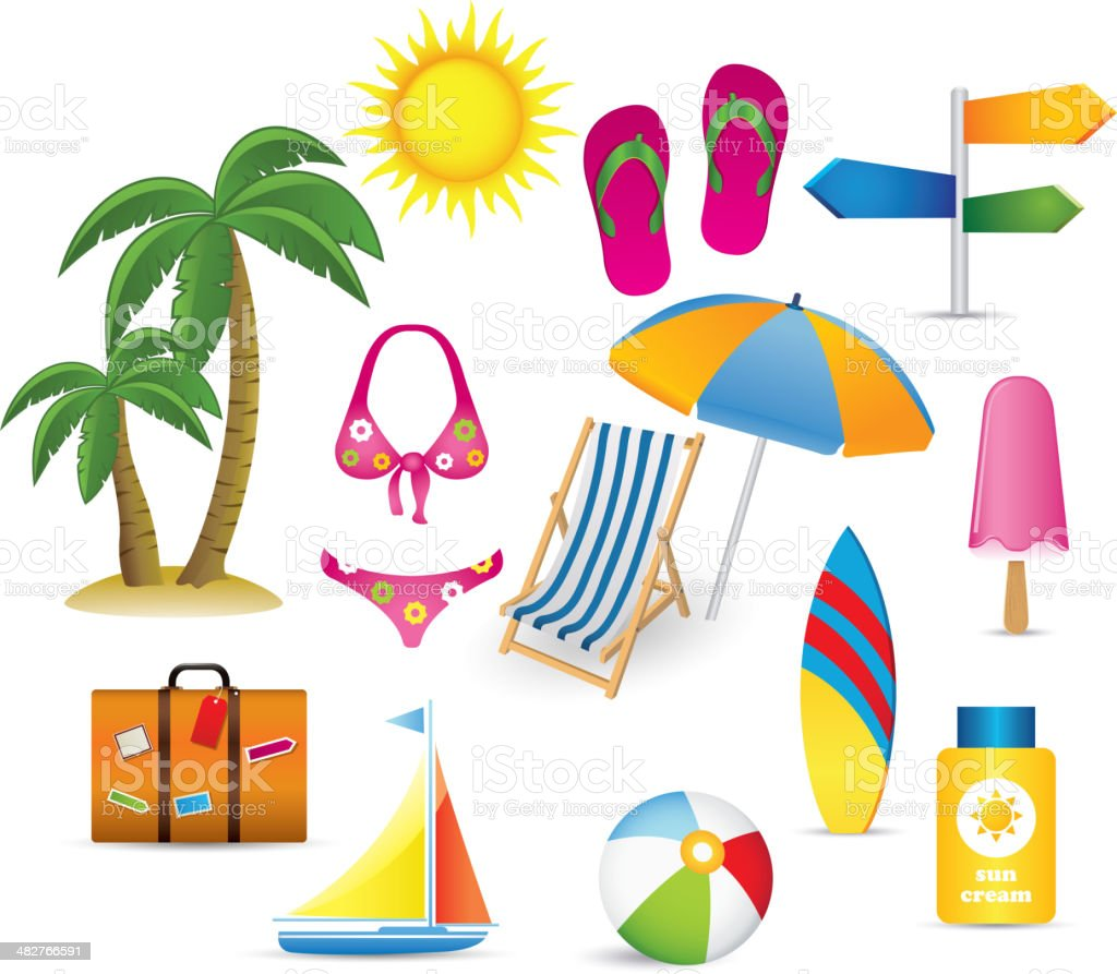 Beach and Summer icon collection royalty-free stock vector art