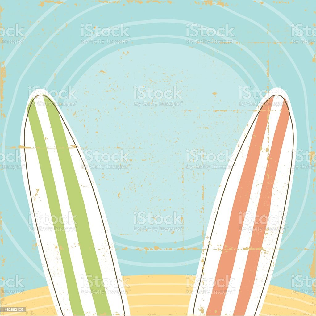 Beach and Surfboard Sign Vintage vector art illustration
