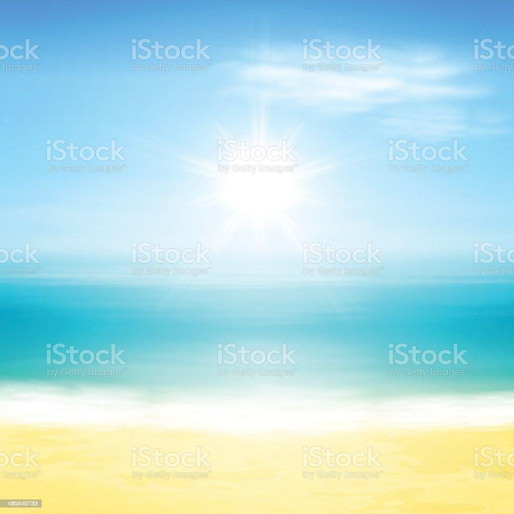Beach and tropical sea vector art illustration