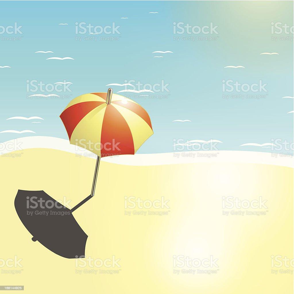 Beach and umbrella in a summer design royalty-free stock vector art