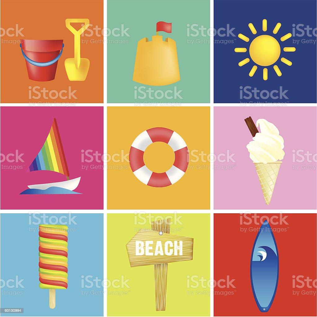 Strand und Urlaub Illustrationen Lizenzfreies vektor illustration