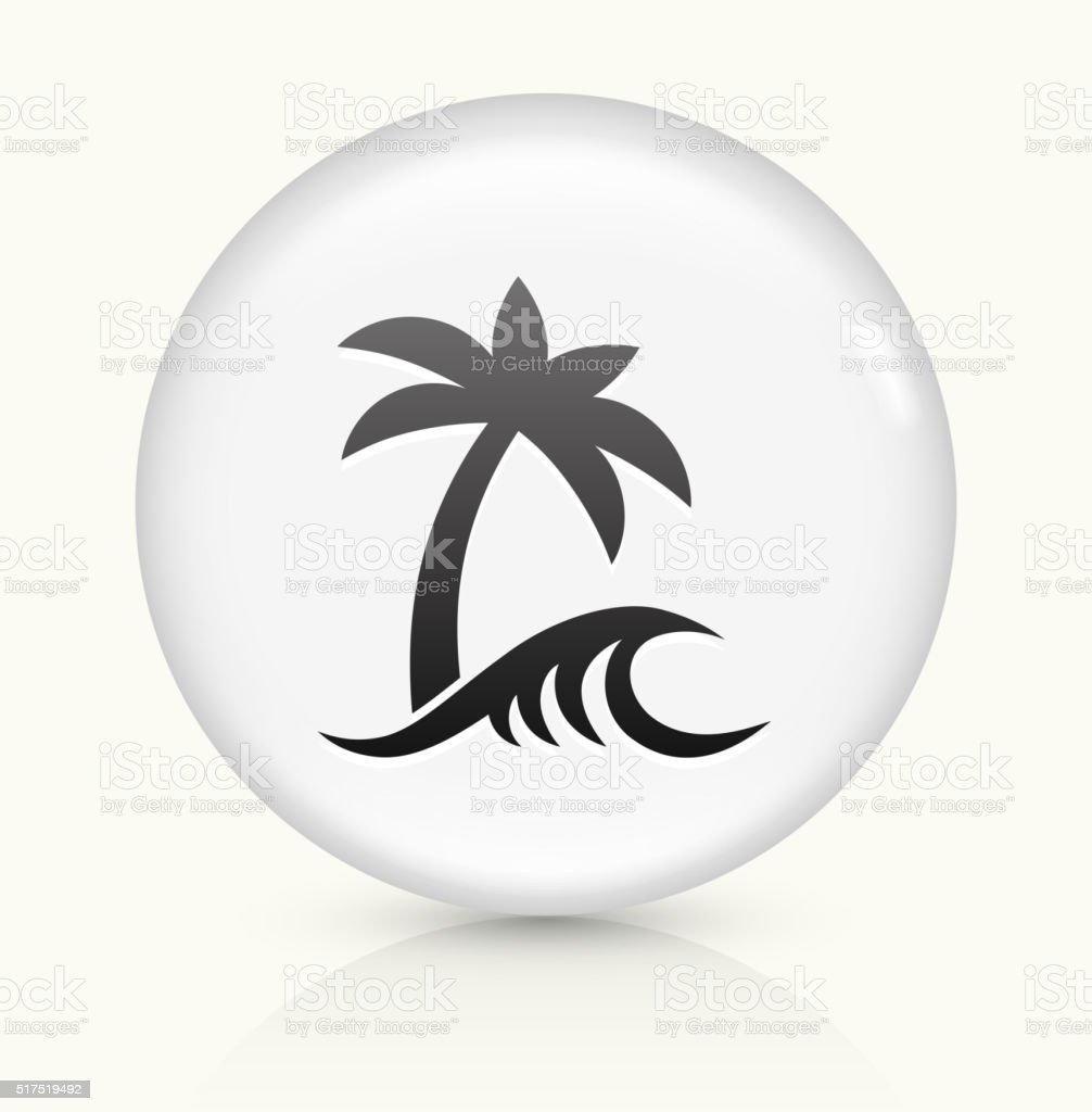 Beach and Waves icon on white round vector button vector art illustration